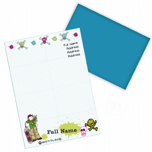 Personalised Bang on the Door Skater Boy Stationery Set
